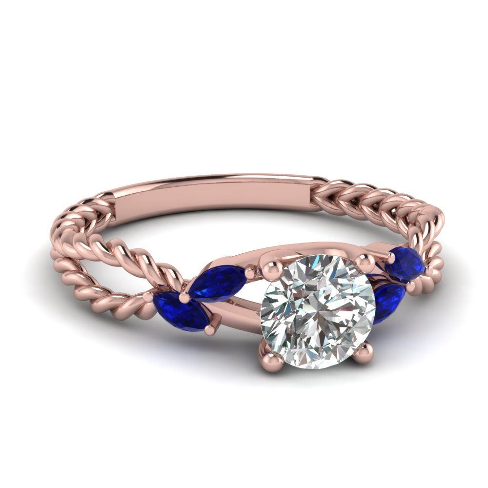 Round Cut diamond Split Shank Engagement Ring with Blue Sapphire in 14K Rose  Gold