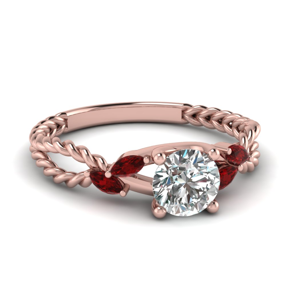 Round Cut Diamond Split Shank Engagement Ring With Red Ruby In 18k Rose Gold