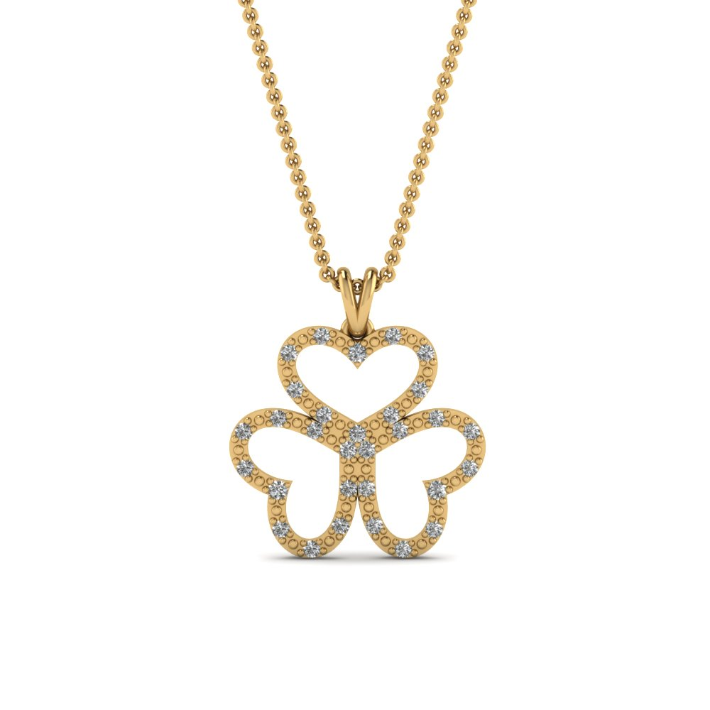 Beautiful Gold Pendant Necklace With Diamonds