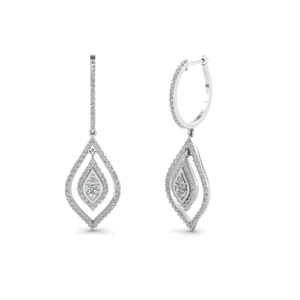 diamond hoop drop earring in FDEAR68237 NL WG