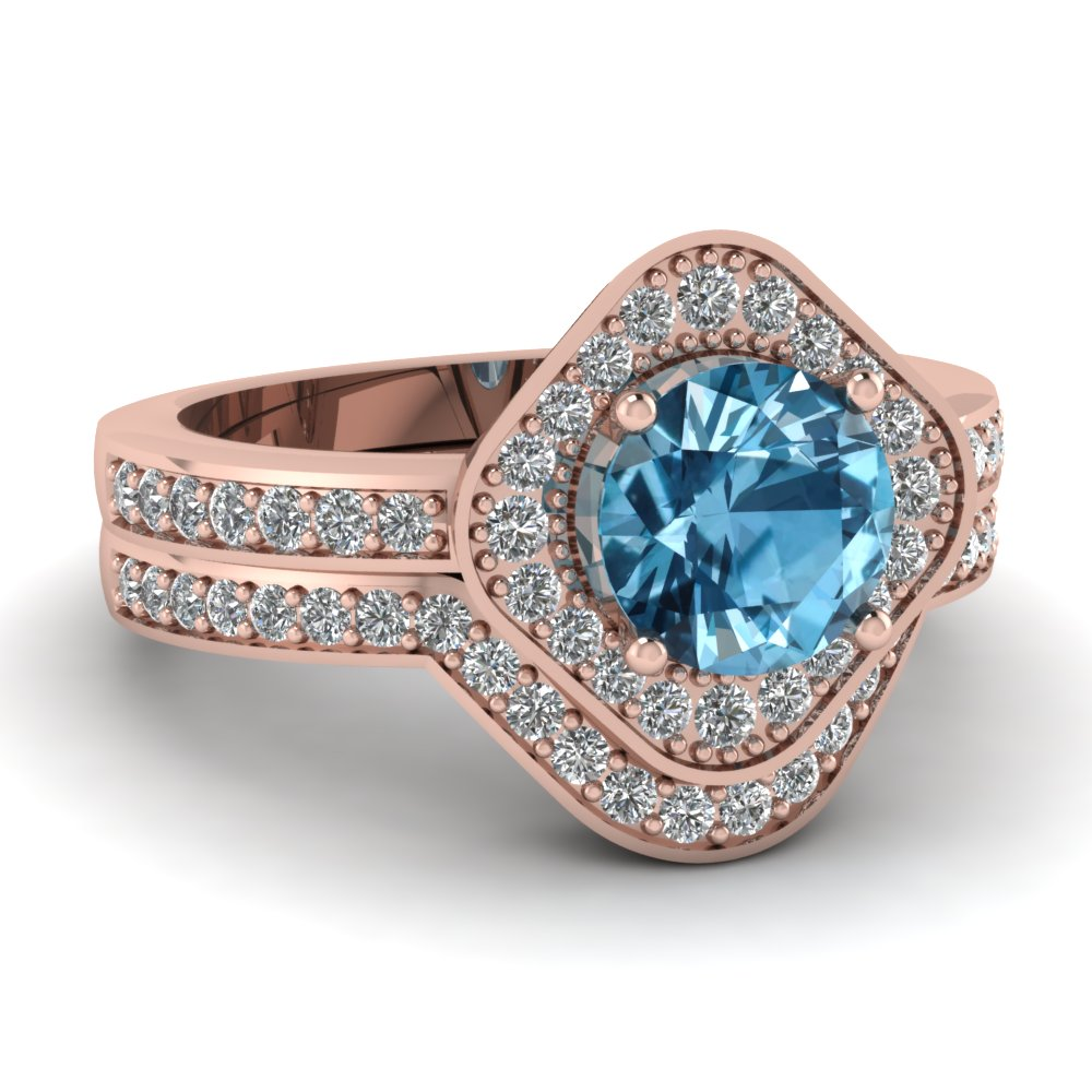 Round Cut Diamond Wedding Ring Set With Ice Blue Topaz In 14k Rose