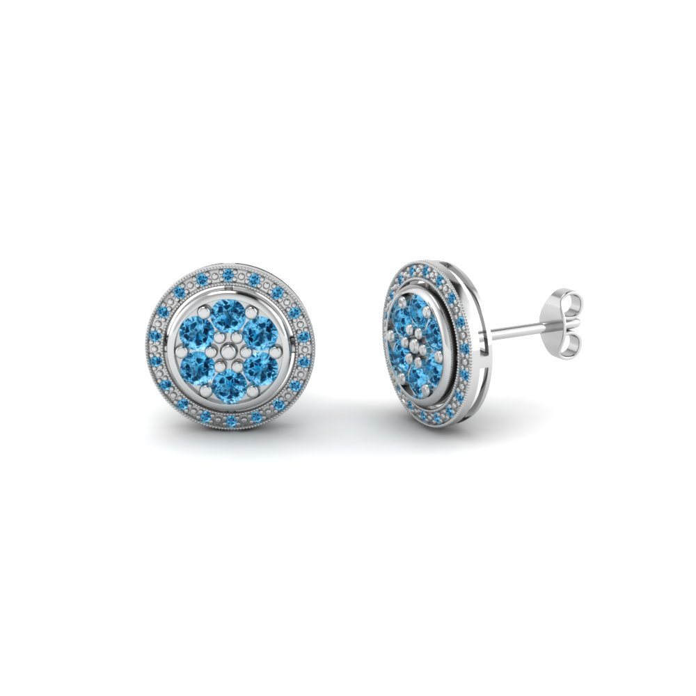 Round Cut Ice Blue Topaz Stud Earrings In