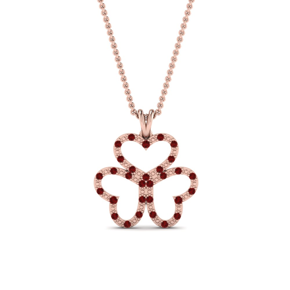 Ruby Trio Open Heart Pendant
