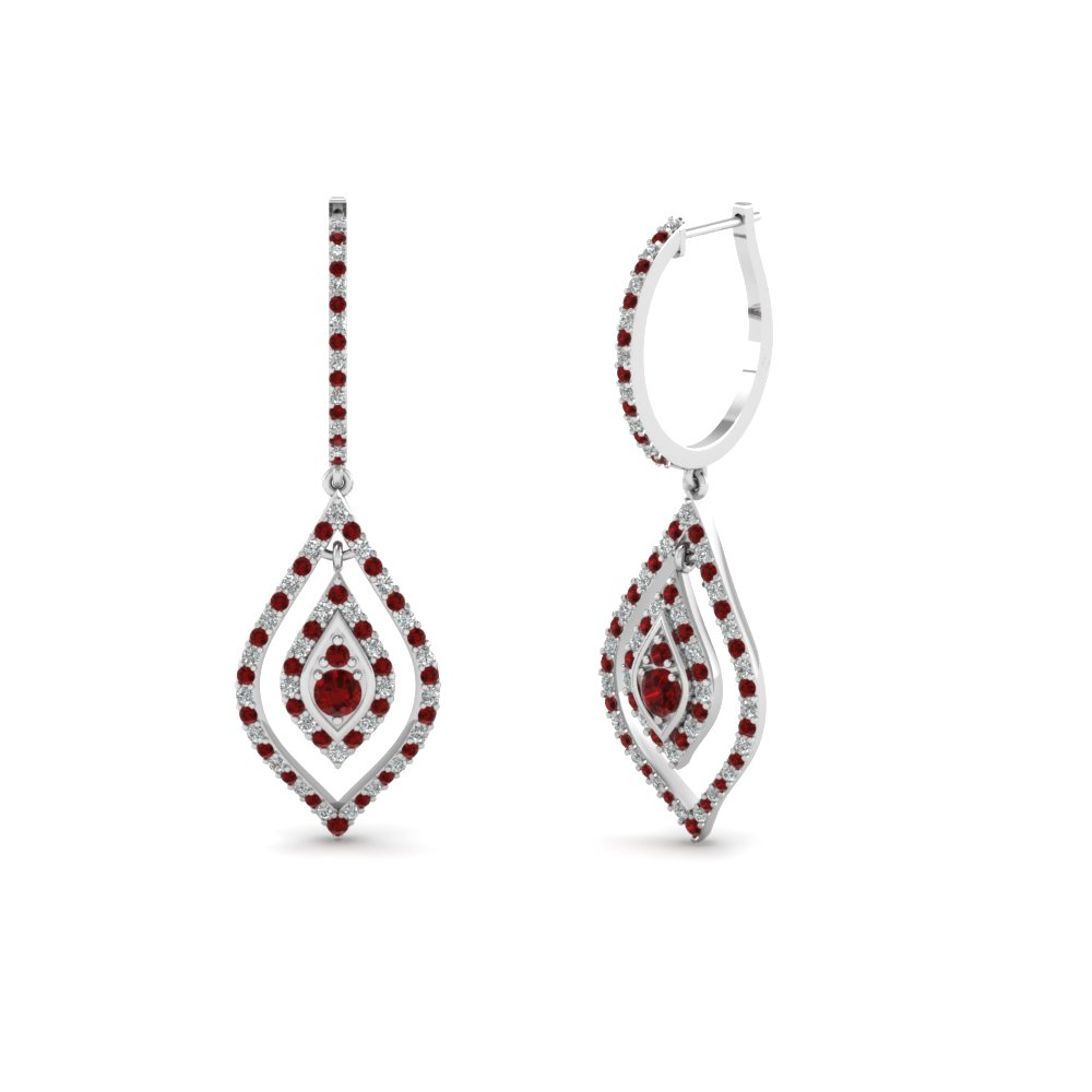 diamond hoop drop earring with ruby in FDEAR68237GRUDR NL WG