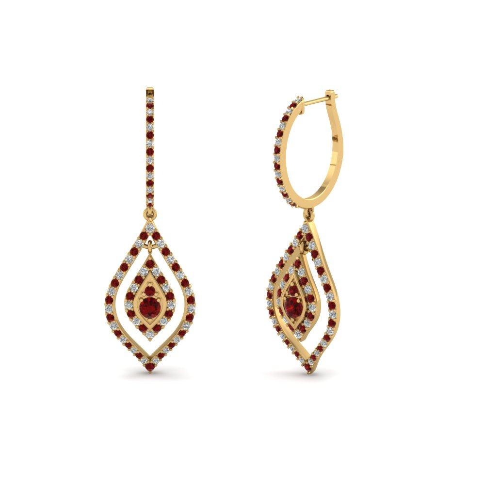 Hoop Drop Dangle Earring With Ruby