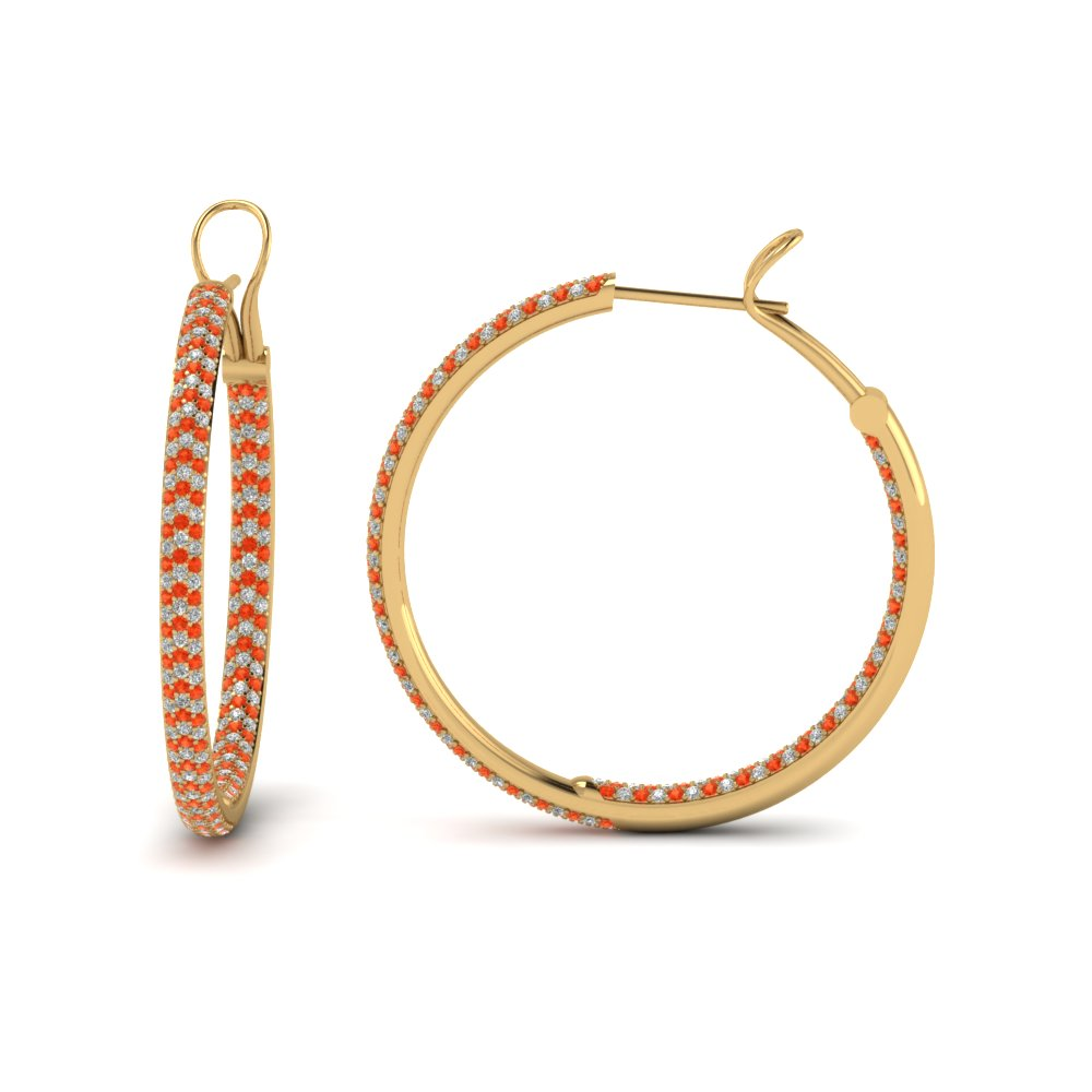 8f899bfdb1d pave inside out diamond hoop earring with orange topaz in FDEAR68230GPOTO NL  YG