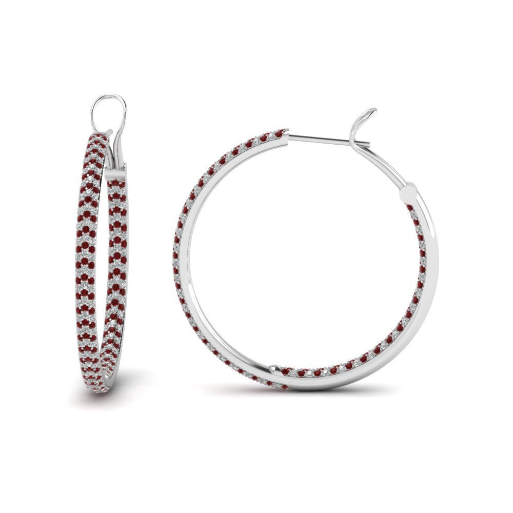 Pave Inside Out Diamond Hoop Earring With Ruby In Fdear68230grudr Nl Wg