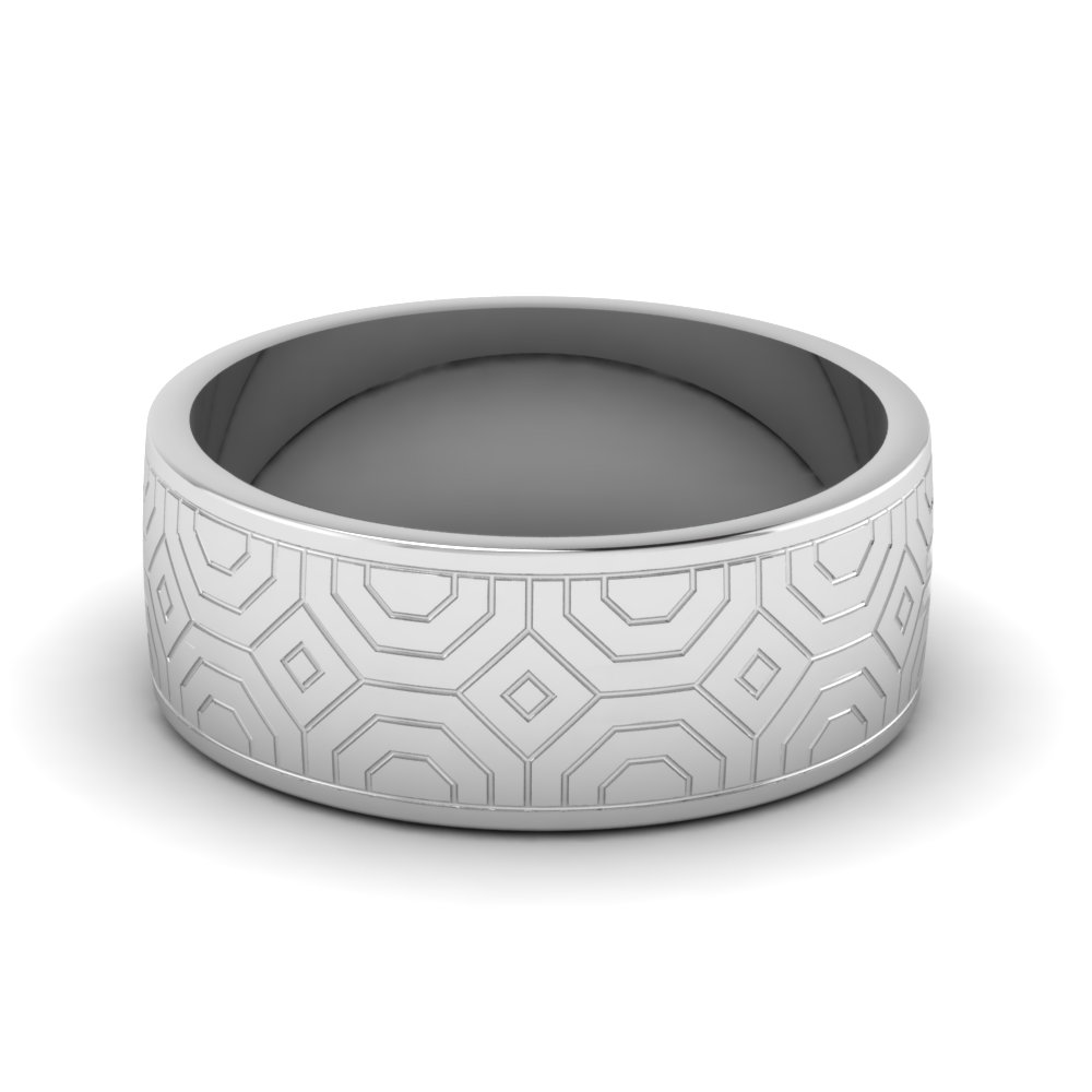 8 MM Thick Geometric Mens Wedding Band
