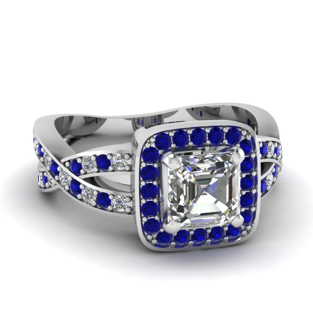 sapphire halo entwined asscher diamond engagement ring in FDENS3237ASRGSABL NL WG.jpg