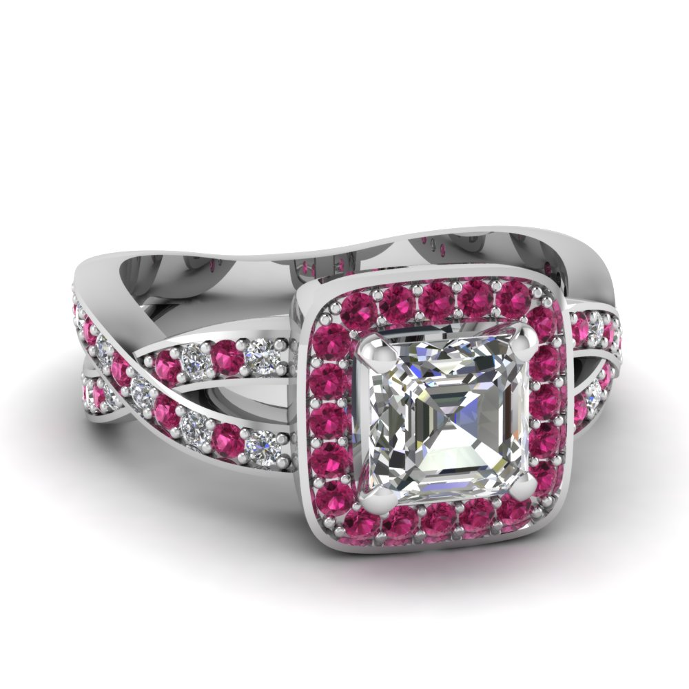 pink sapphire halo entwined asscher diamond engagement ring in FDENS3237ASRGSADRPI NL WG.jpg