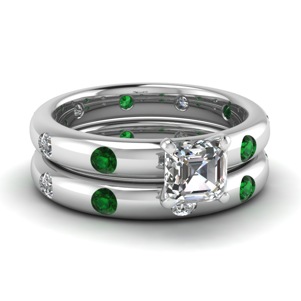 profile ring handmade bezel contemporary sapphire goldsmith matching band dorney design eva wedding rings diamond with surround set cluster green pave and engagement jewellery in