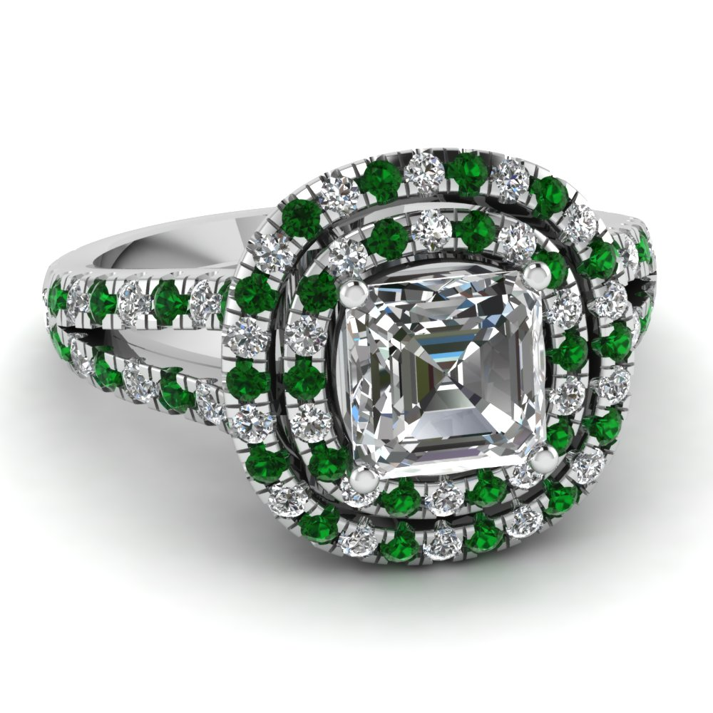 Asscher Diamond Double Halo Ring
