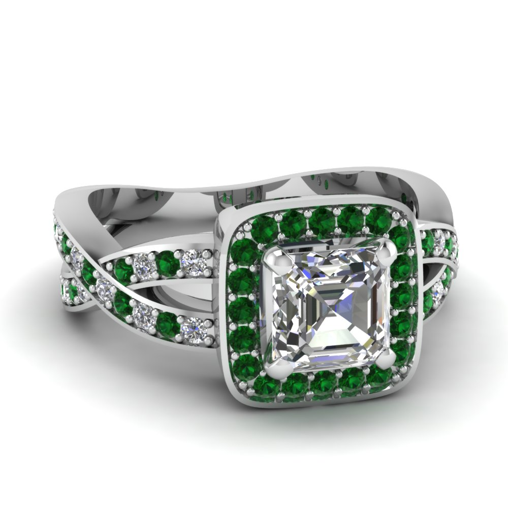 emerald halo entwined asscher diamond engagement ring in FDENS3237ASRGEMGR NL WG.jpg