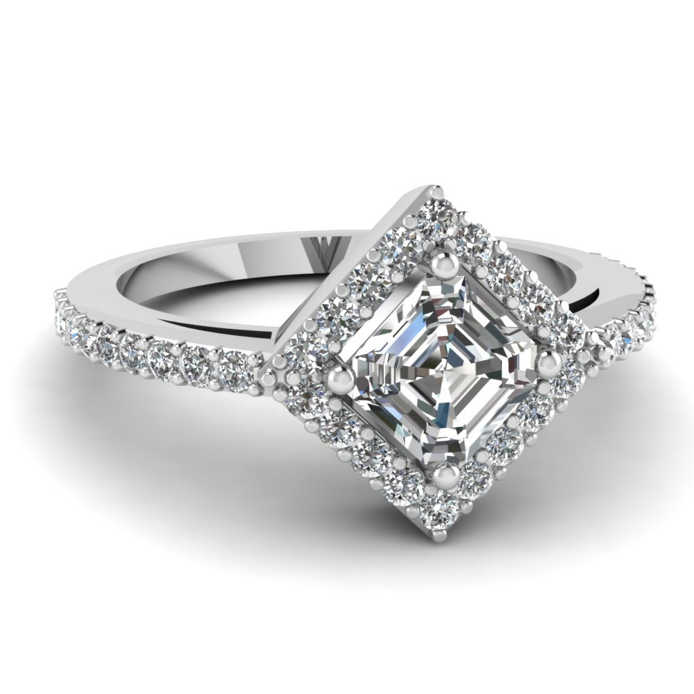 Asscher Cut Diamond Halo Rings