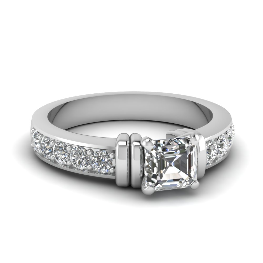simple bar set asscher moissanite engagement ring in FDENR957ASR Nl WG