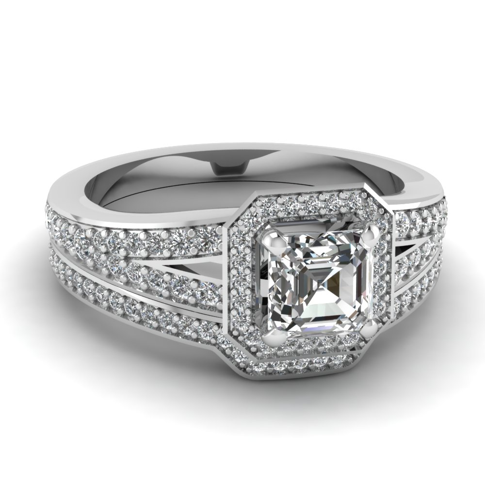 Square Octagon Asscher cut Halo Wedding Ring Set