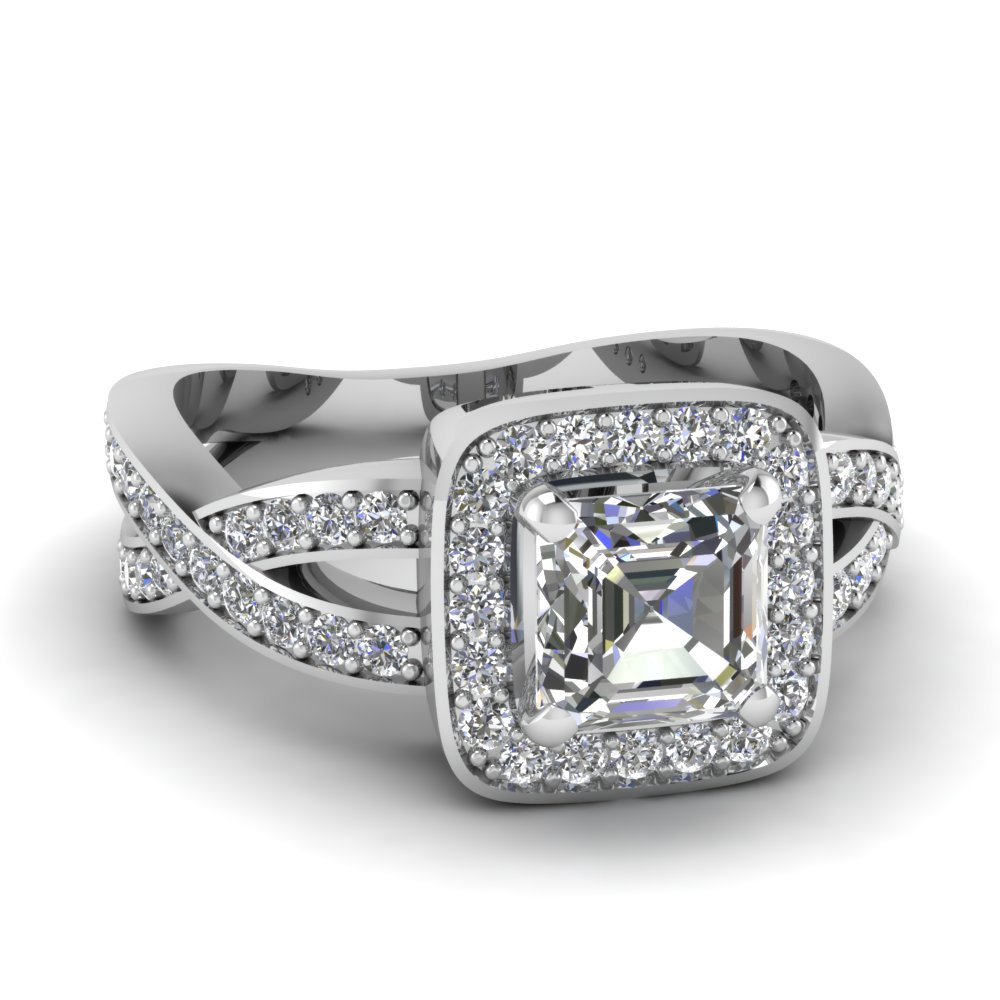 Halo Entwined Asscher Diamond Engagement Ring In 950 Platinum