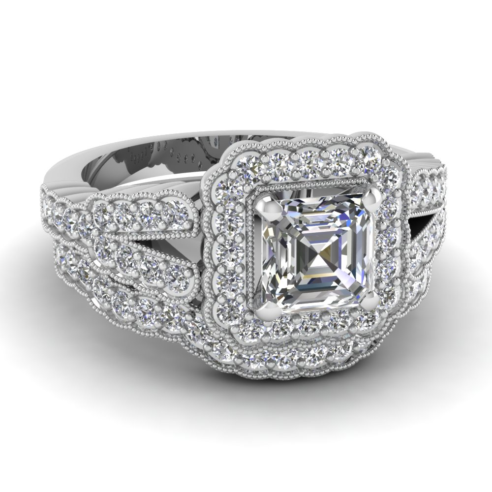 Asscher Cut Split Bridal Set