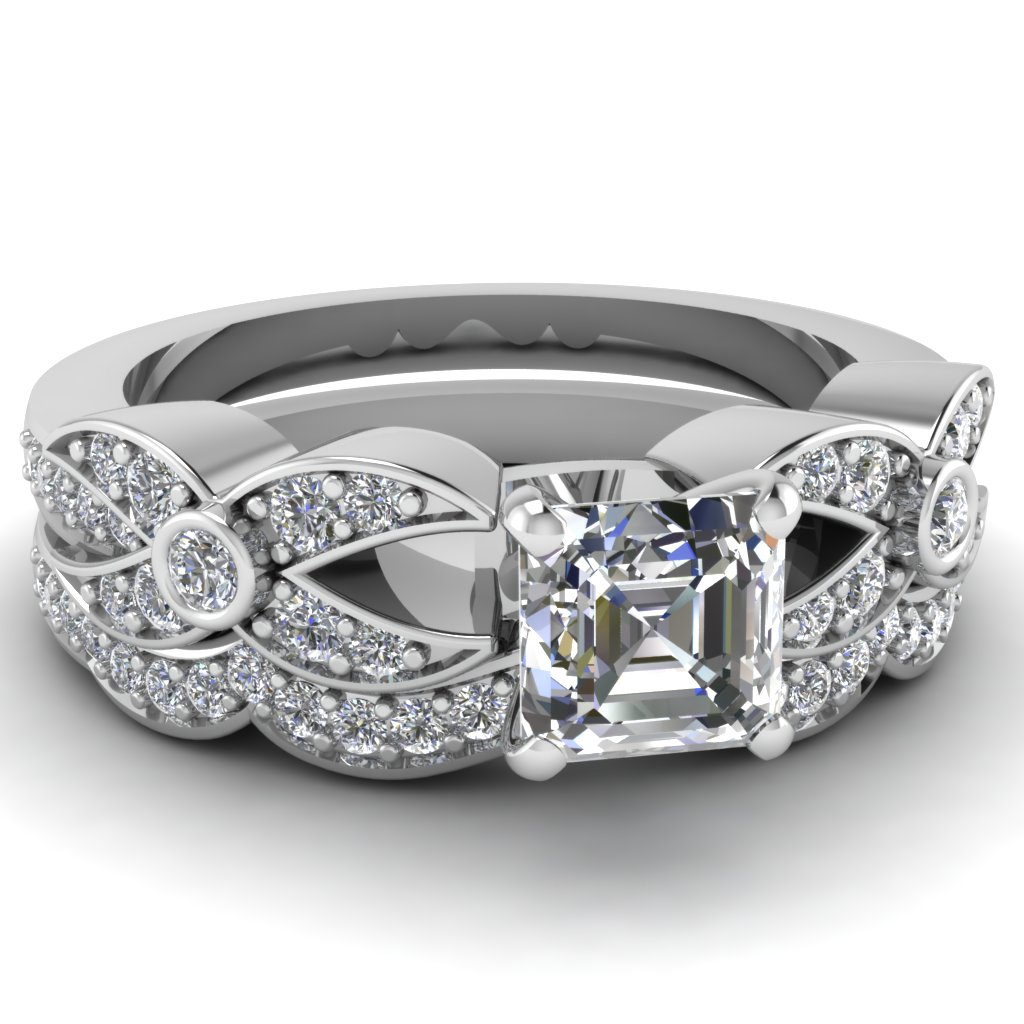 Asscher Diamond Wedding Ring Set