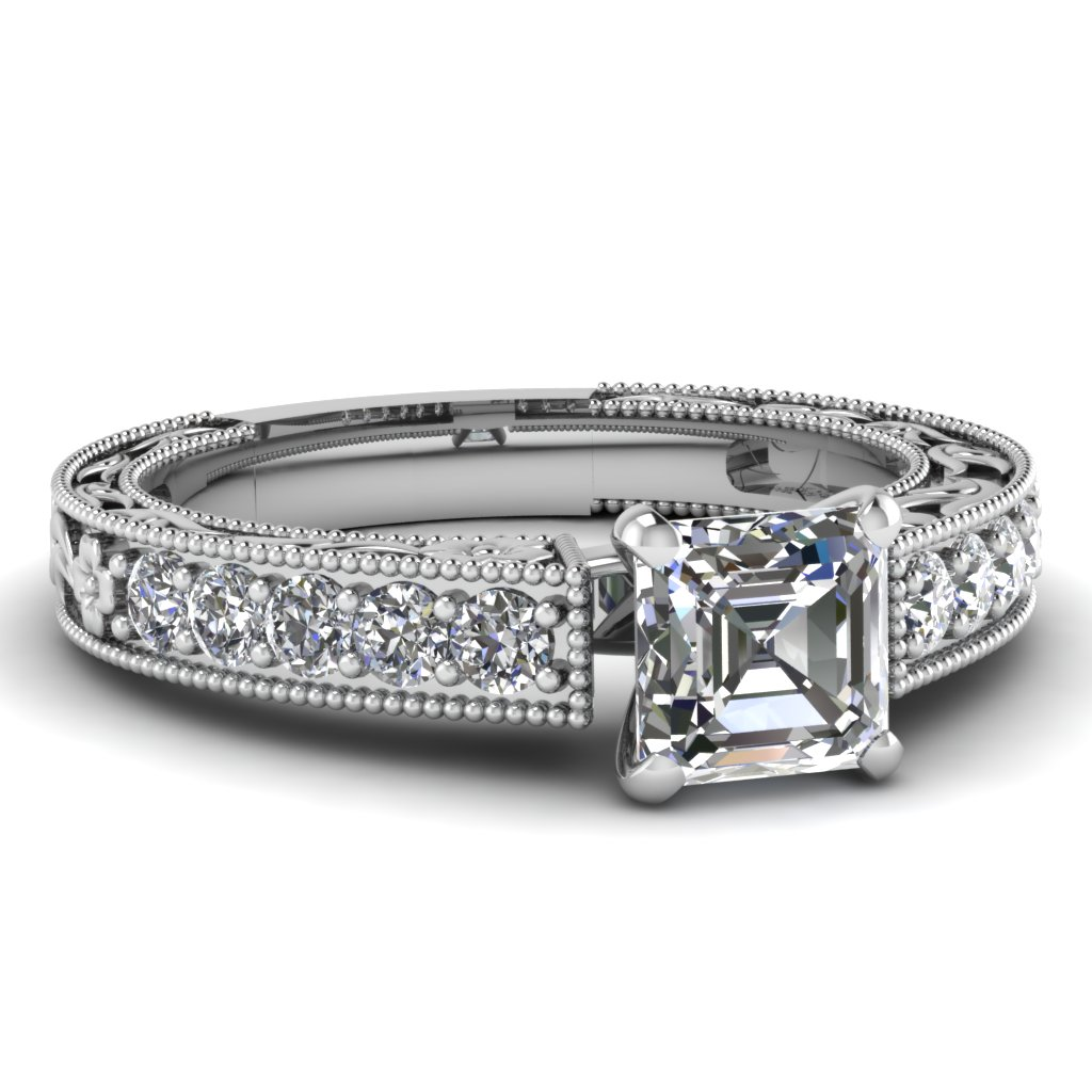 Milgrain Asscher Cut Vintage Engagement Ring