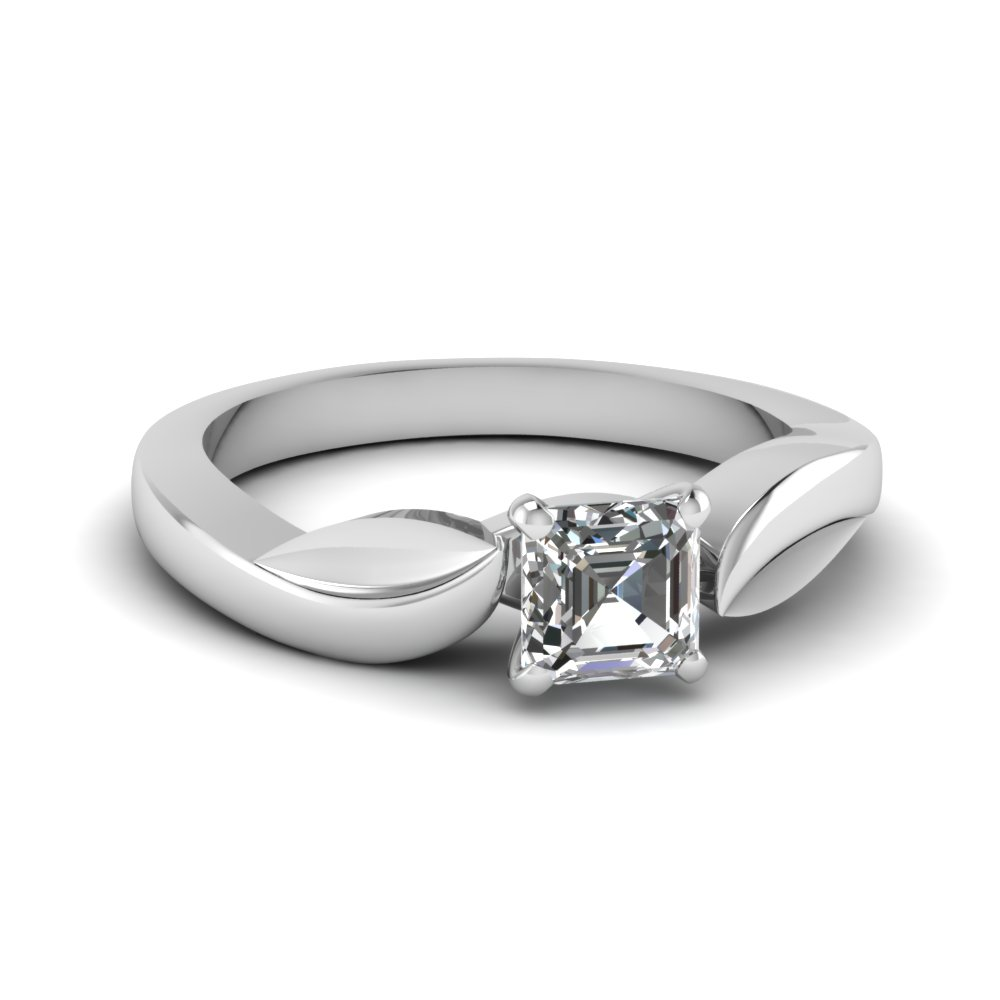 White Gold Asscher Solitaire Ring