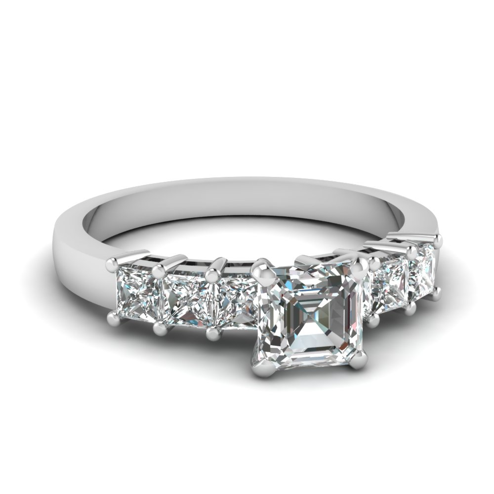 Asscher Cut Thick Band Engagement Ring In White Gold