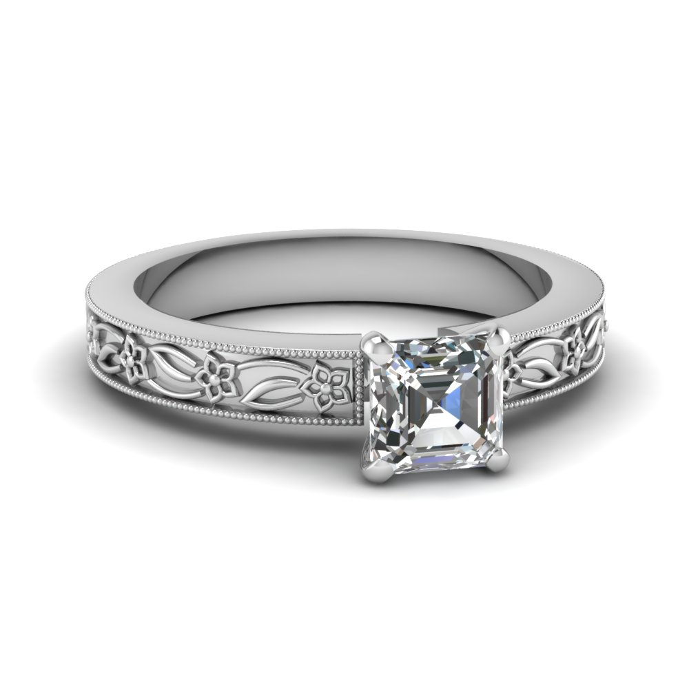 engraved flower asscher cut solitaire engagement ring in FDENS3537ASR NL WG