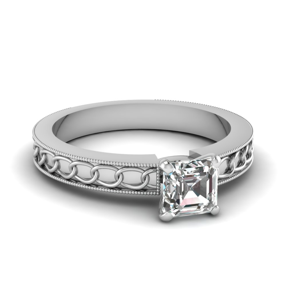 Chain design Asscher Solitaire Ring