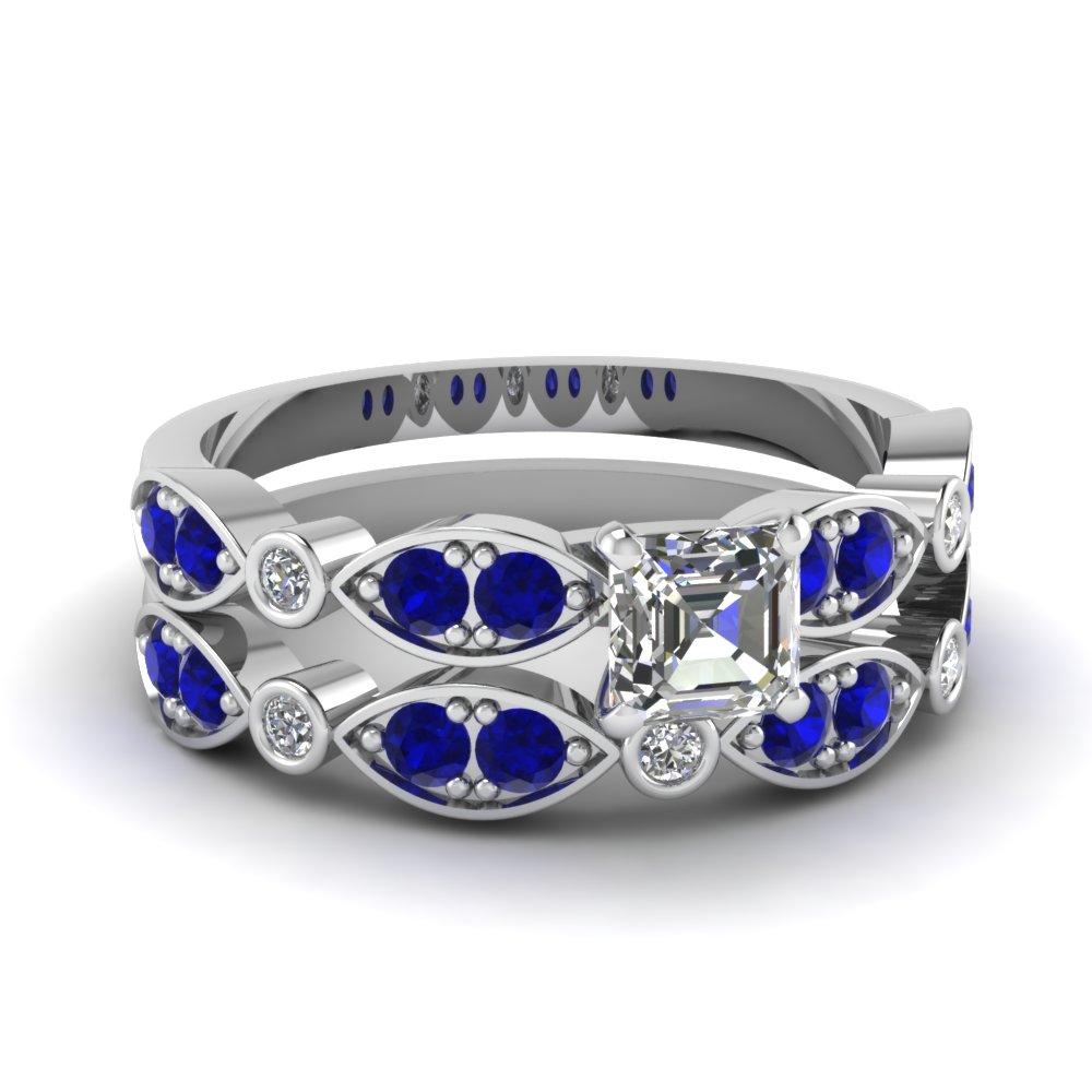 white-gold-asscher-white-diamond-engagement-wedding-ring-with-blue-sapphire-in-pave-bezel-set-FDENS2035ASGSABL-NL-WG