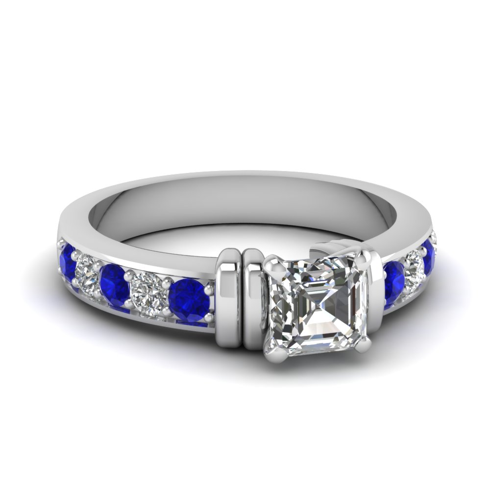 simple bar set asscher lab diamond engagement ring with sapphire in FDENR957ASRGSABL Nl WG