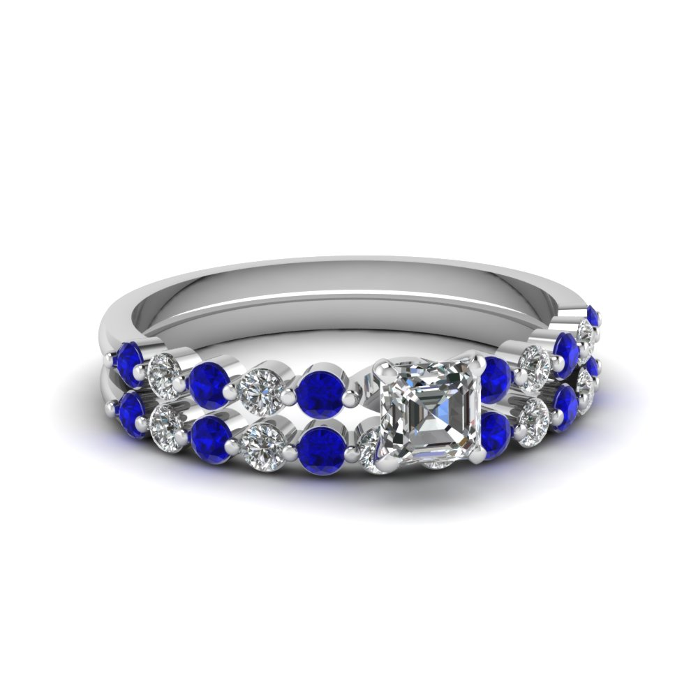 Largest selection of blue sapphire wedding ring sets for Blue sapphire wedding ring set