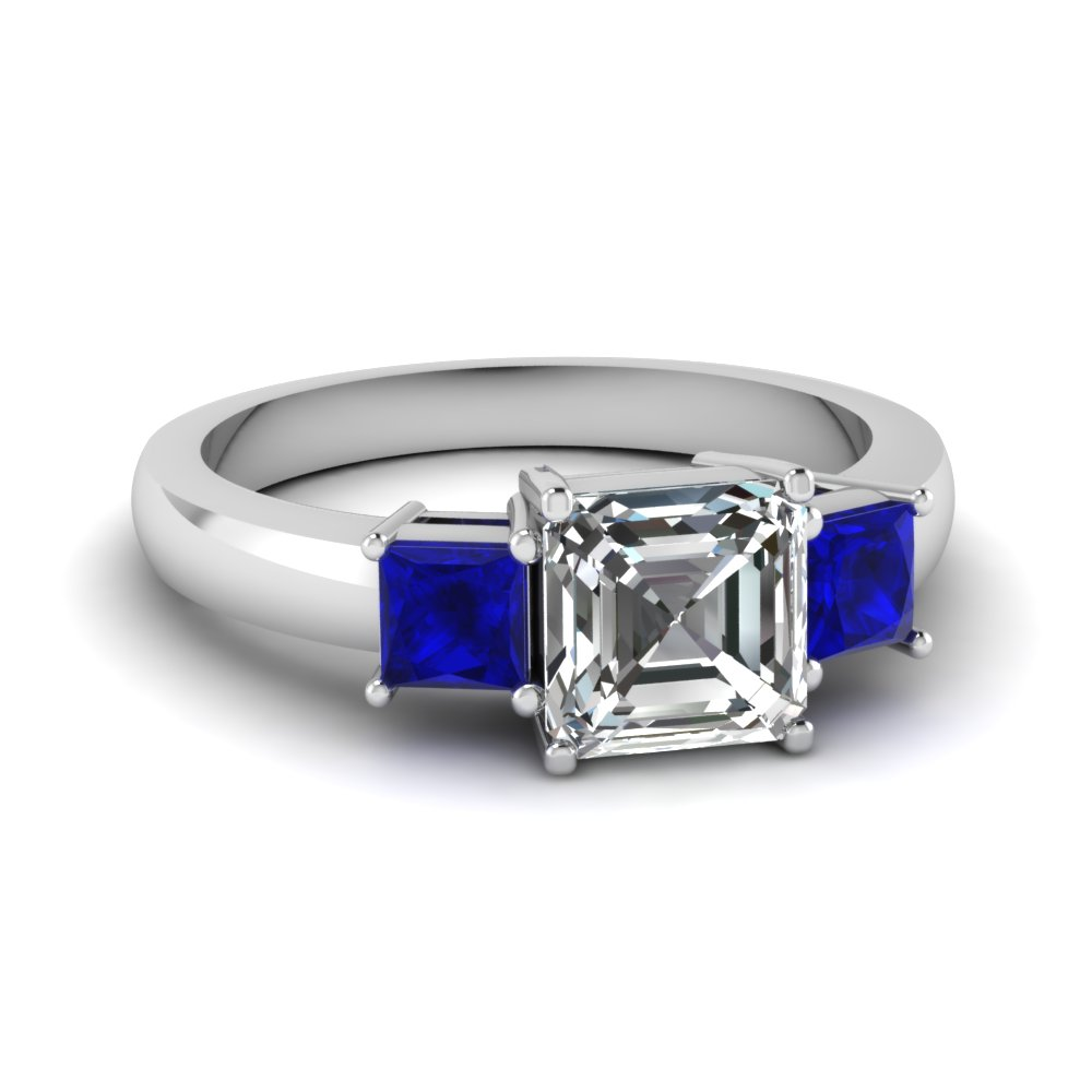 filled gold cut sapphire size pair asscher band unbranded pin ring white