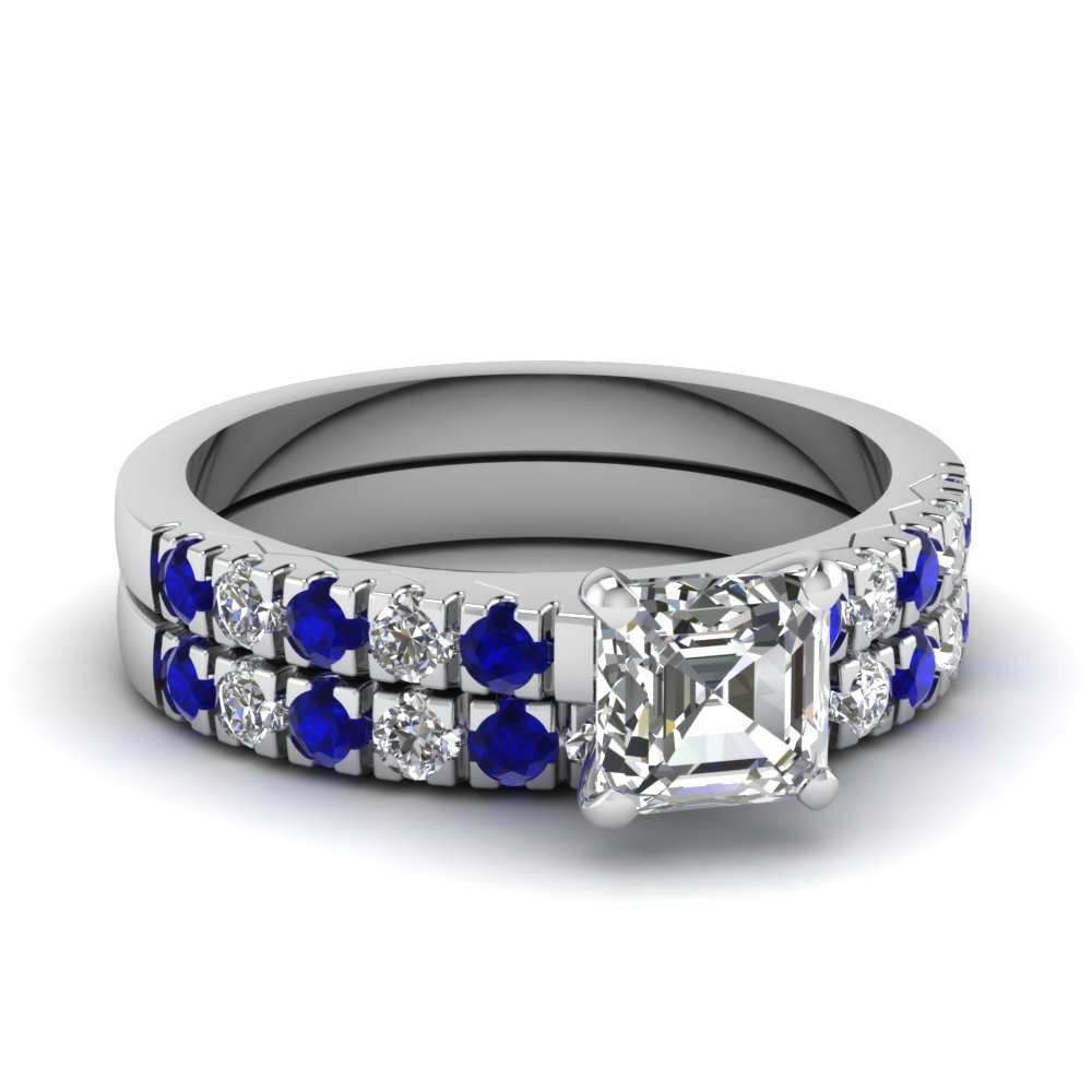 scalloped pave asscher diamond wedding ring set with sapphire in FDENS1972ASGSABL NL WG