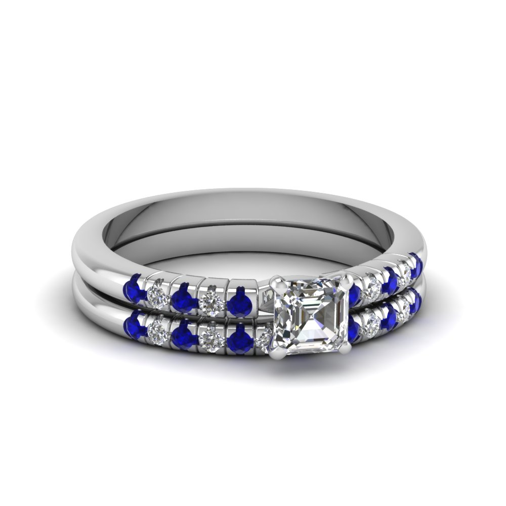 Asscher Cut Blue Sapphire Wedding Sets