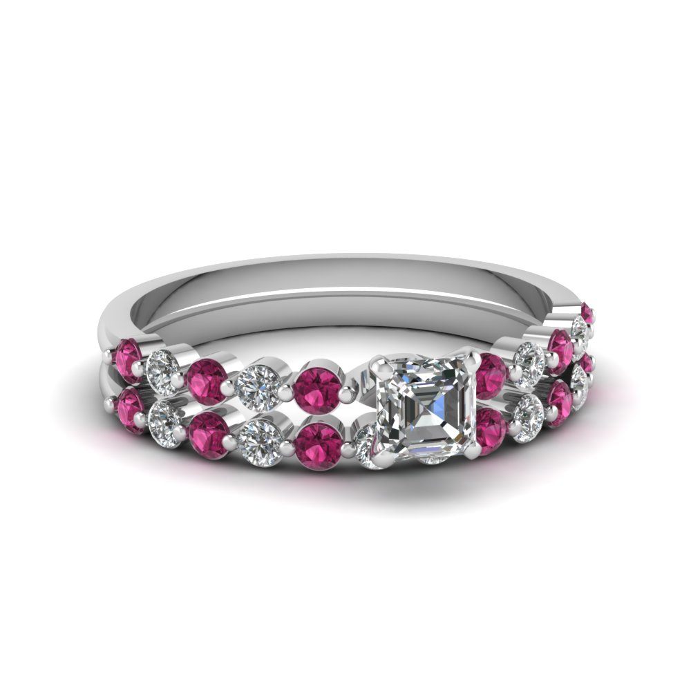 asscher cut floating diamond wedding ring set with pink sapphire in FDENS3023ASGSADRPI NL WG.jpg