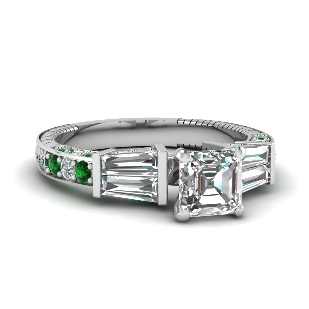 vintage baguette asscher diamond engagement ring with emerald in FDENS318ASRGEMGR NL WG
