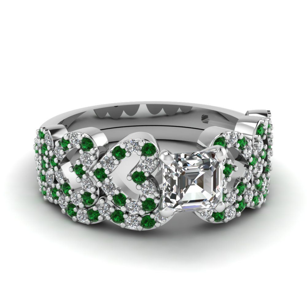 asscher cut heart design linked diamond wedding set with emerald in FDENS3051ASGEMGR NL WG.jpg