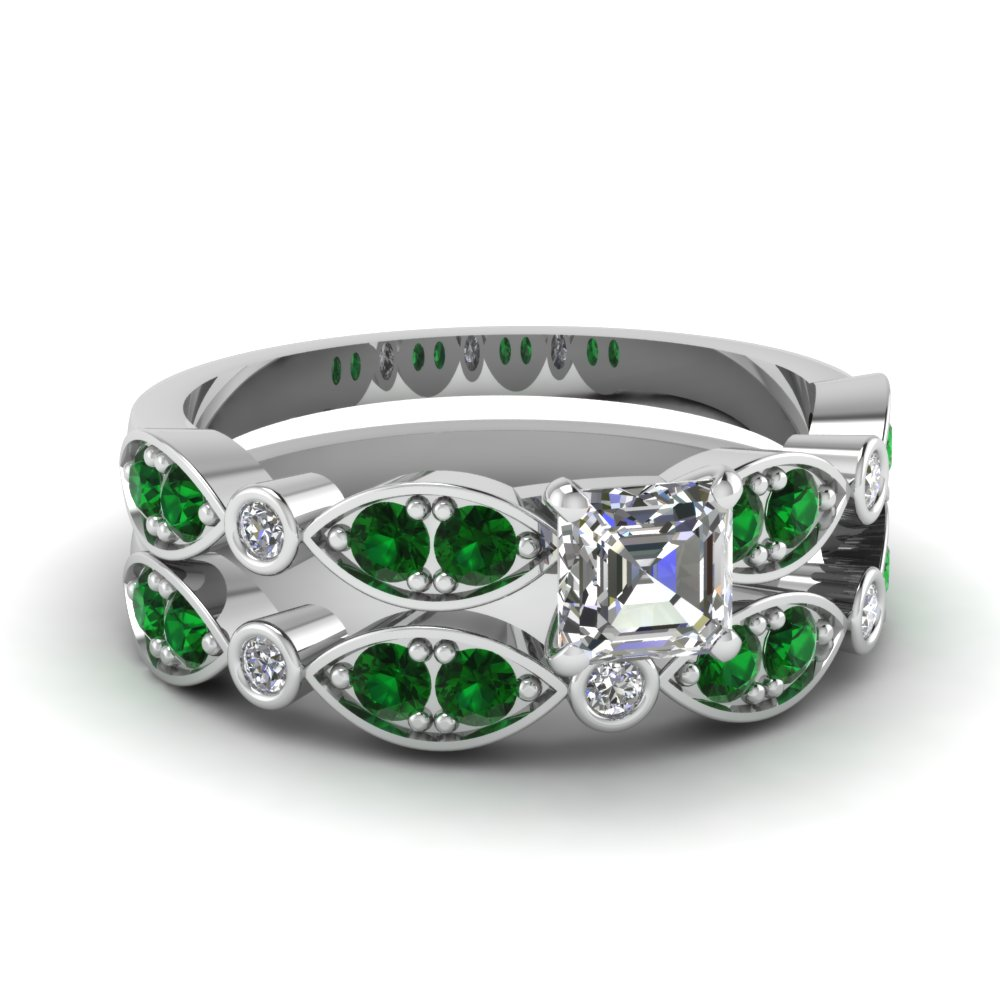 white-gold-asscher-white-diamond-engagement-wedding-ring-with-green-emerald-in-pave-bezel-set-FDENS2035ASGEMGR-NL-WG