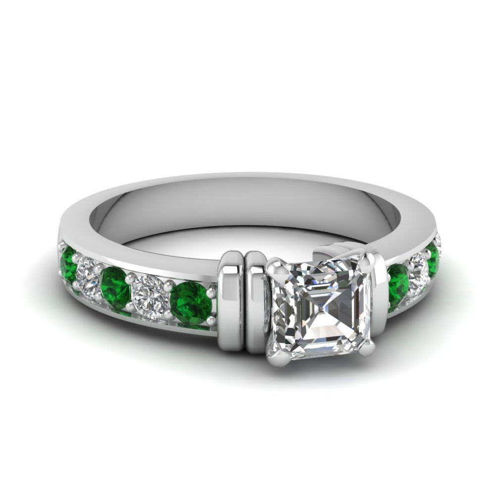 simple bar set asscher lab diamond engagement ring with emerald in FDENR957ASRGEMGR Nl WG