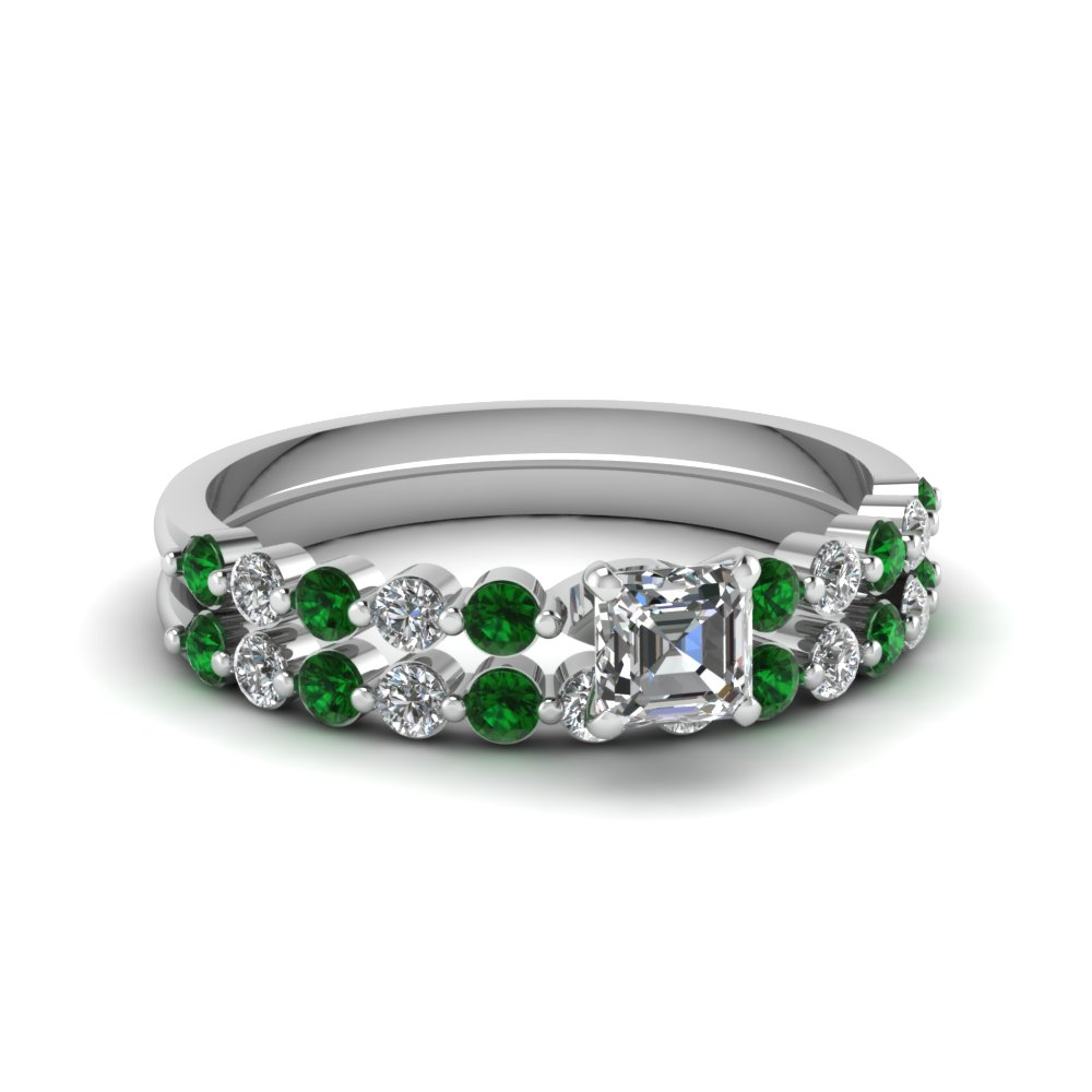 asscher cut floating diamond wedding ring set with emerald in FDENS3023ASGEMGR NL WG.jpg