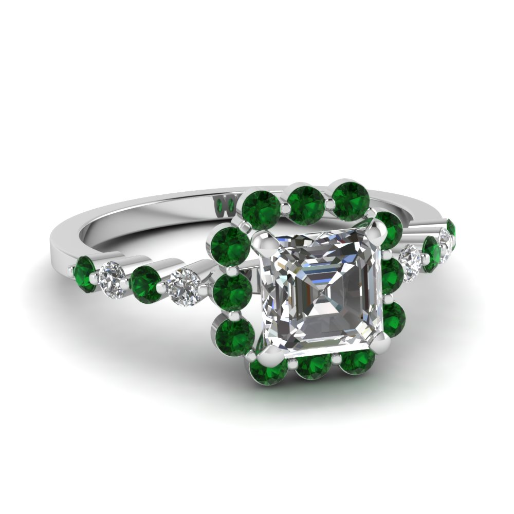 Floating Emerald Square Ring