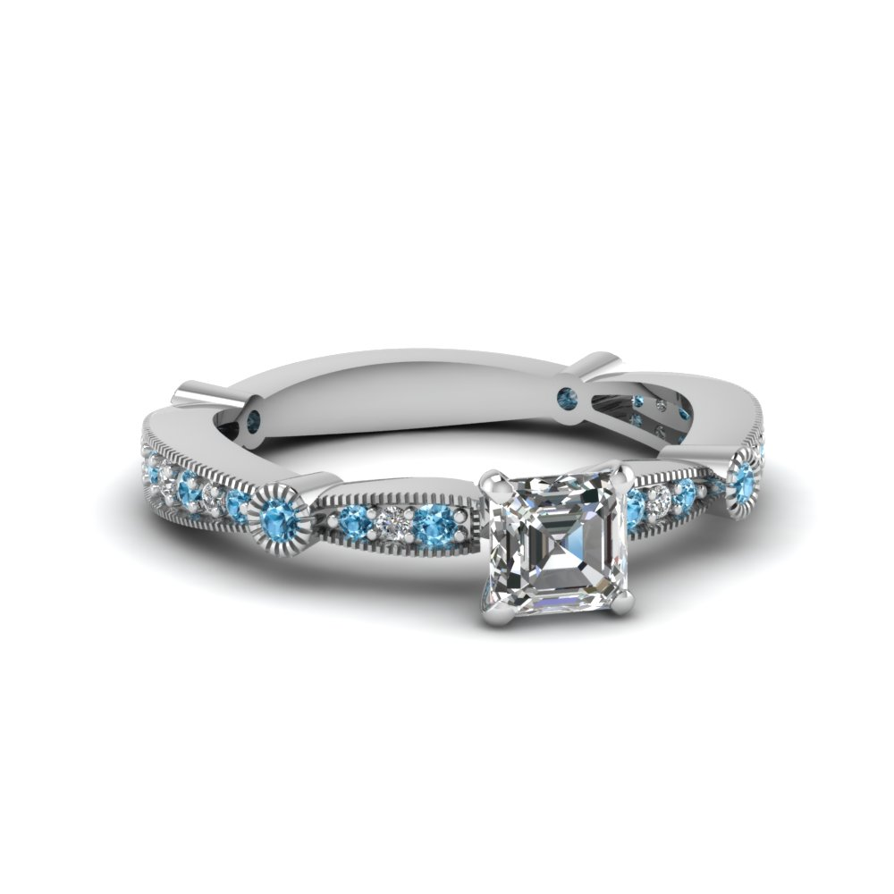 asscher diamond vintage tapered engagement ring with blue topaz in FDENS3026ASRGICBLTO NL WG