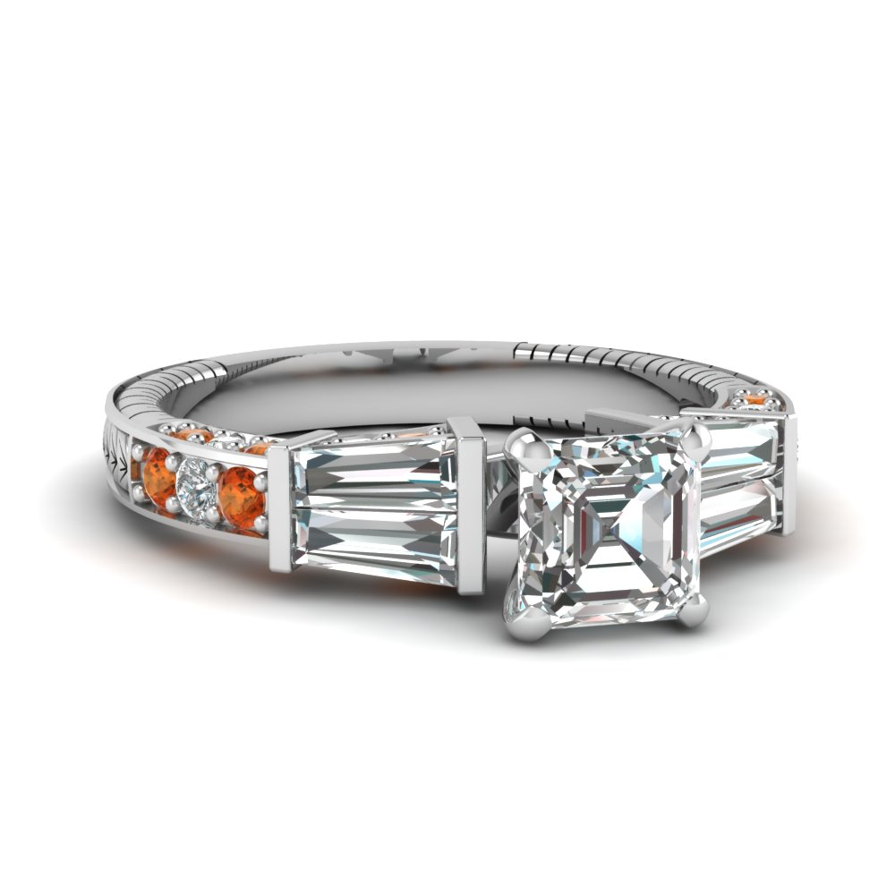 vintage baguette asscher diamond engagement ring with orange sapphire in FDENS318ASRGSAOR NL WG