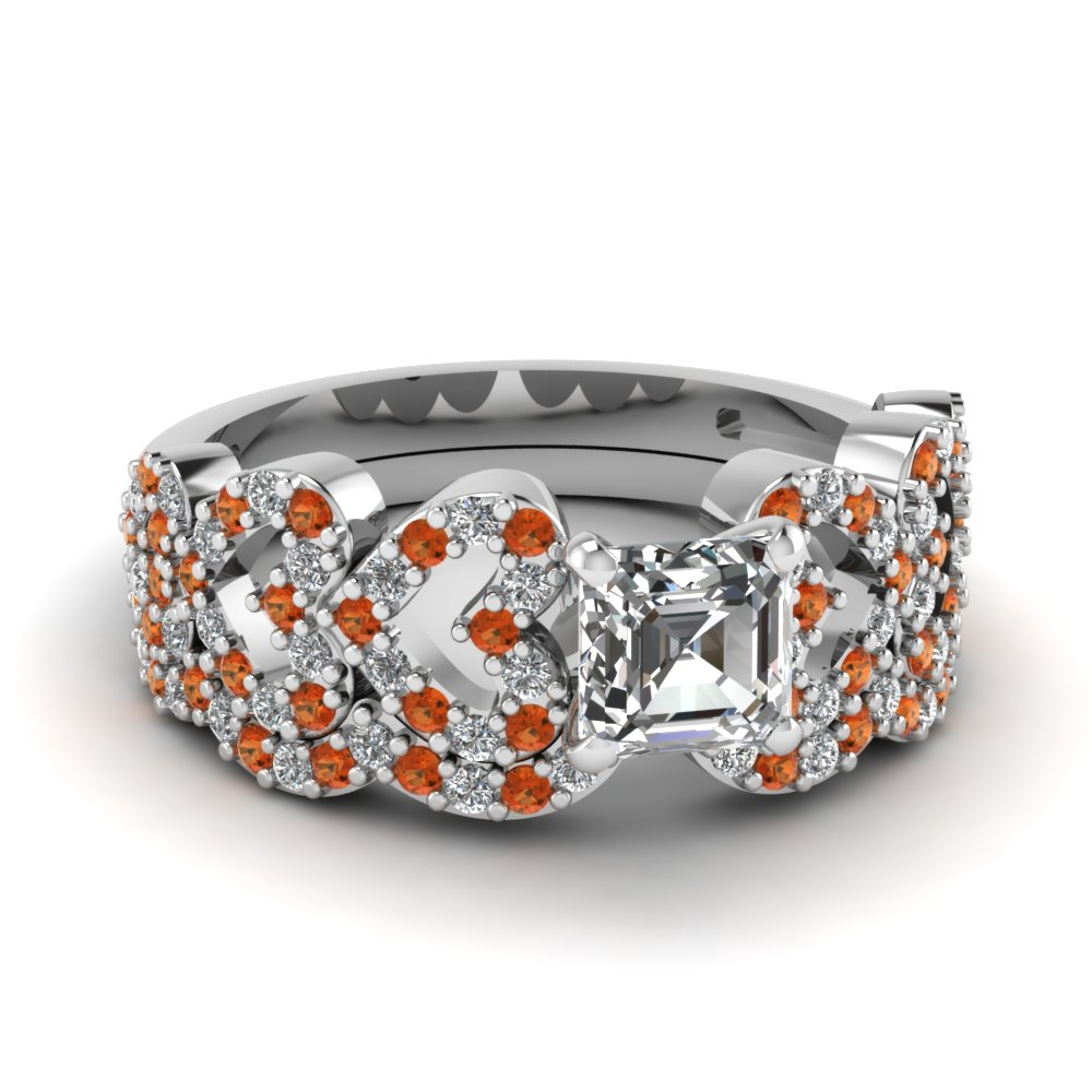asscher cut heart design linked diamond wedding set with orange sapphire in FDENS3051ASGSAOR NL WG.jpg
