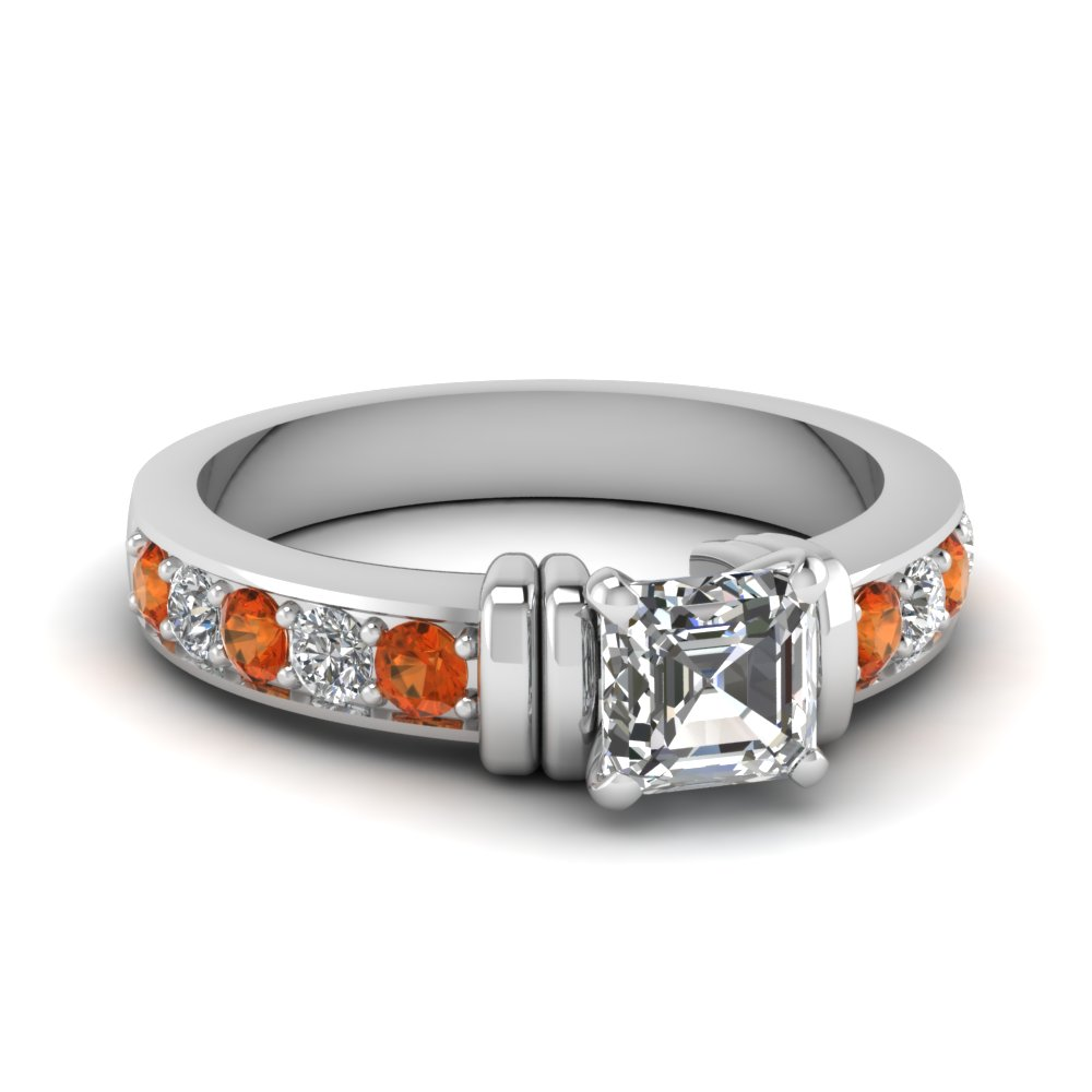 simple bar set asscher lab diamond engagement ring with orange sapphire in FDENR957ASRGSAOR Nl WG