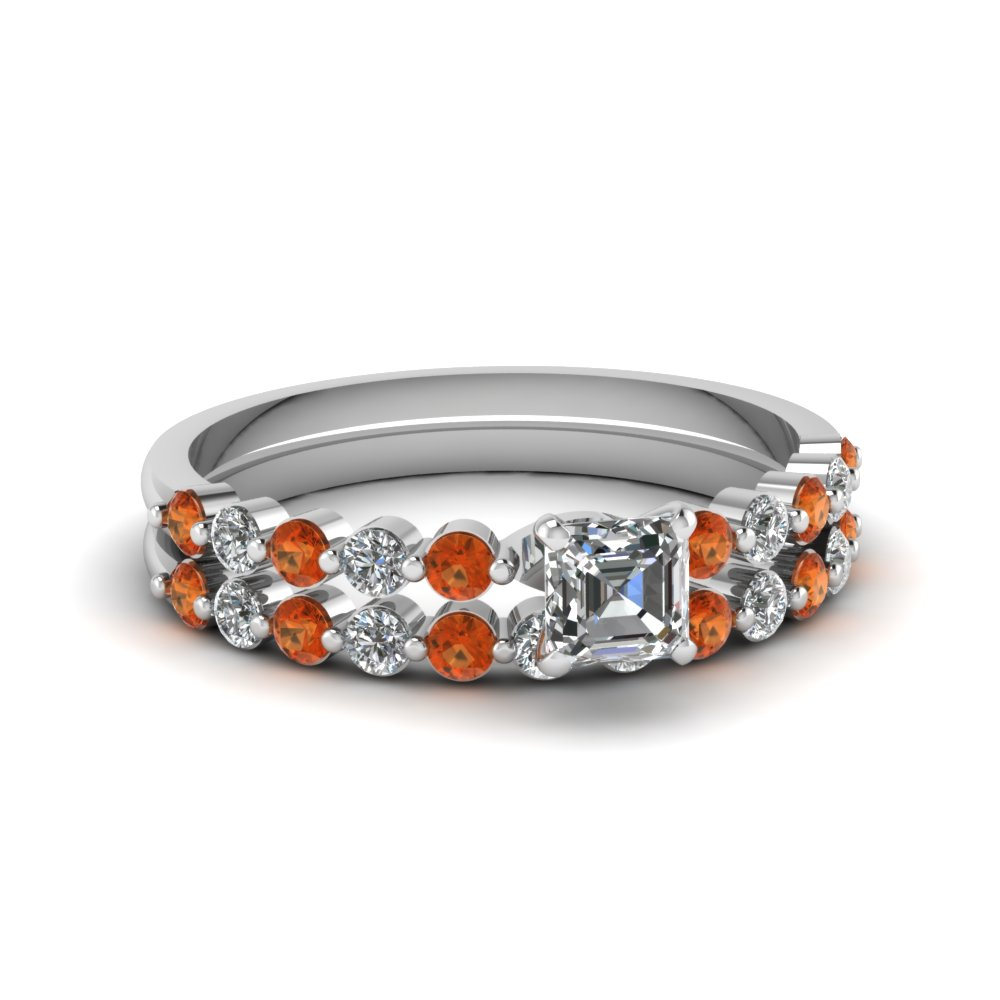Asscher Orange Sapphire Wedding Ring Set
