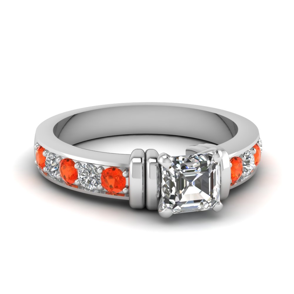 simple bar set asscher moissanite engagement ring with orange topaz in FDENR957ASRGPOTO Nl WG