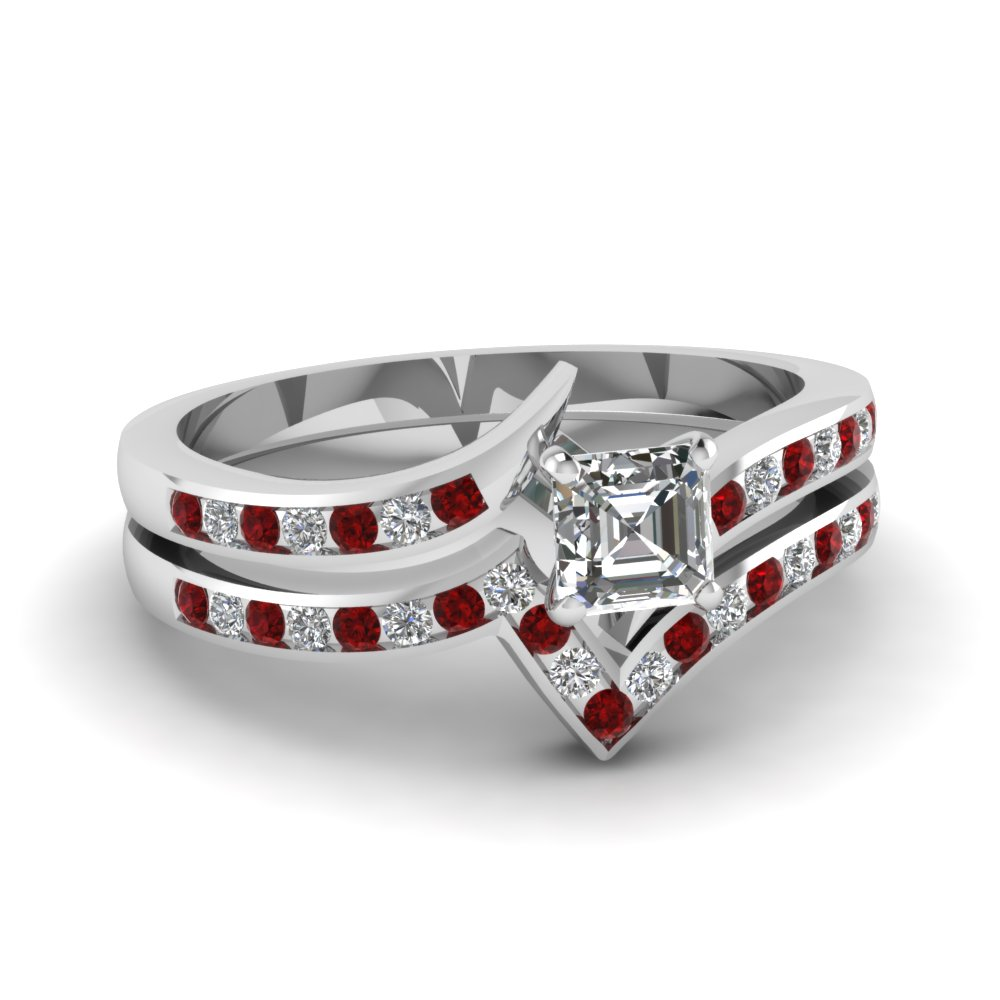Pave Set Ruby And Diamond Accent Asscher Cut Wedding Ring Set