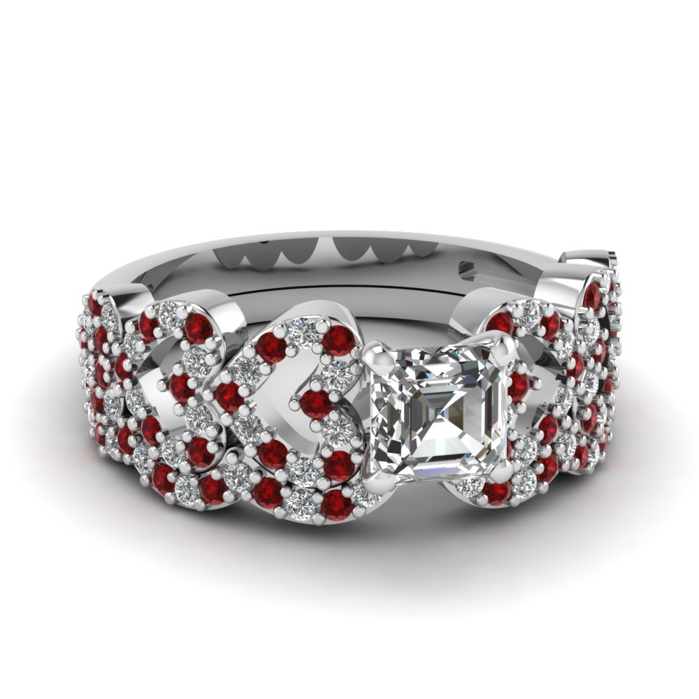 asscher cut heart design linked diamond wedding set with ruby in FDENS3051ASGRUDR NL WG.jpg