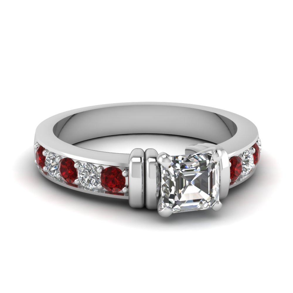 simple bar set asscher lab diamond engagement ring with ruby in FDENR957ASRGRUDR Nl WG